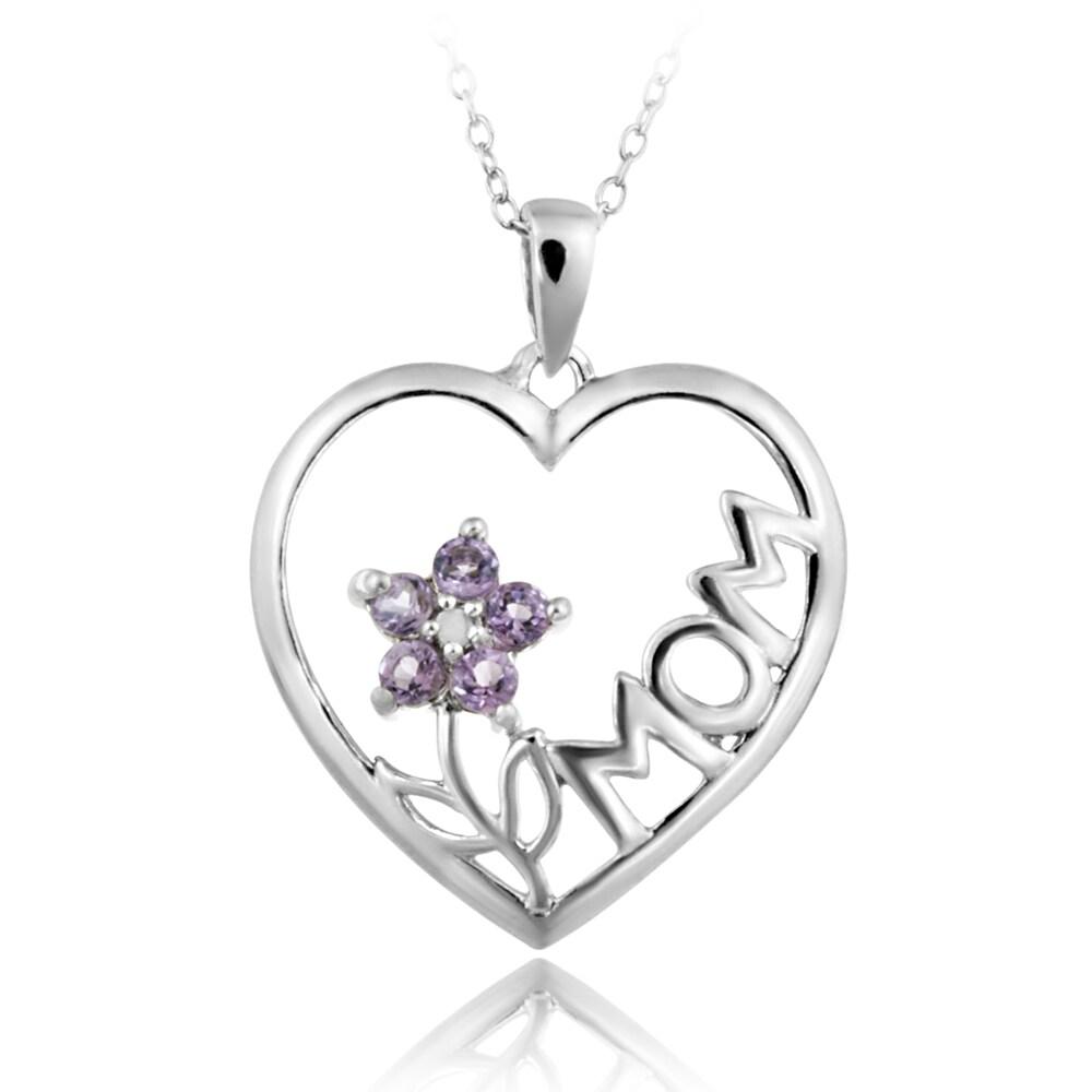 Glitzy Rocks Sterling Silver Diamond Accent Amethyst Heart Necklace