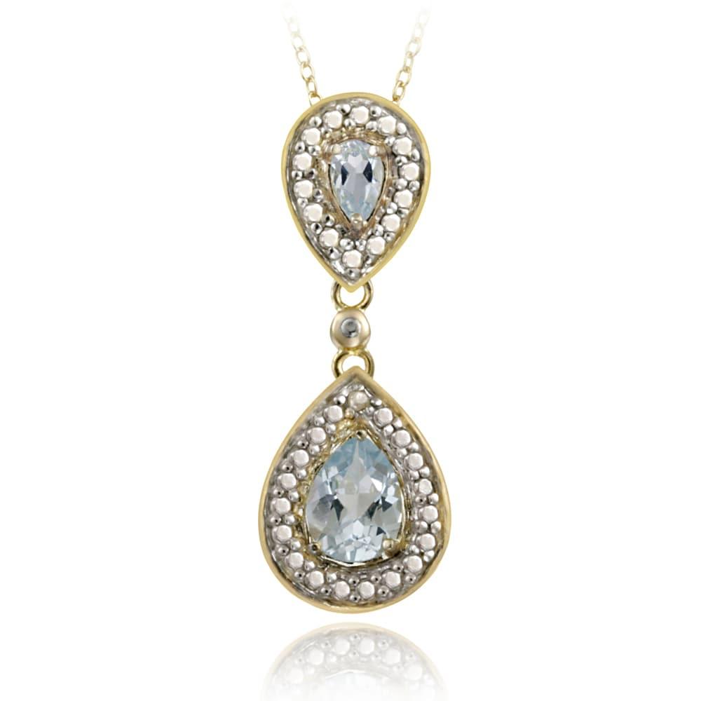 Glitzy Rocks 18k Gold over Silver Diamond Accent Blue Topaz 1.45ct TGW Drop Necklace