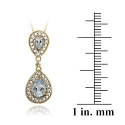 Glitzy Rocks 18k Gold over Silver Diamond Accent Blue Topaz 1.45ct TGW Drop Necklace - Thumbnail 2