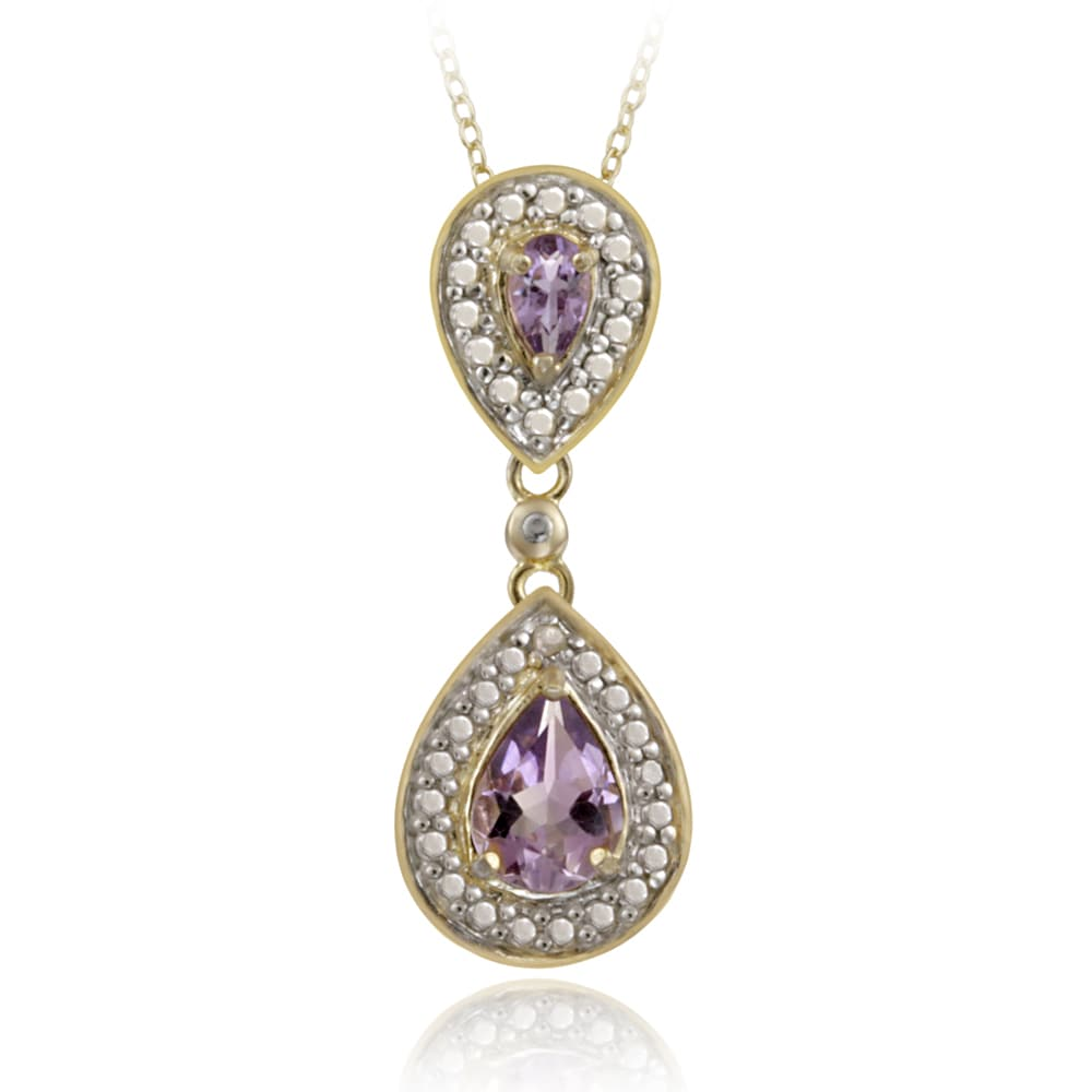 Glitzy Rocks 18k Gold over Silver Diamond Accent Amethyst 1ct TGW Drop Necklace