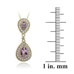 Glitzy Rocks 18k Gold over Silver Diamond Accent Amethyst 1ct TGW Drop Necklace - Thumbnail 2