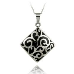 Glitzy Rocks Stainless Steel Black Enamel Paisley Design Necklace