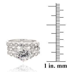 Icz Stonez Sterling Silver Cubic Zirconia 4 1/4ct TGW Bridal Ring Set