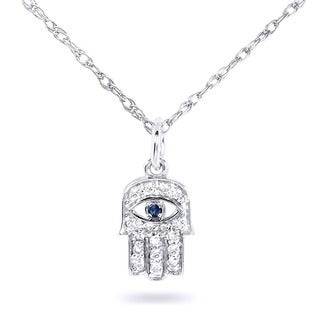 Annello by Kobelli 14k Gold Sapphire and 1/10ct TDW Diamond Hamsa Pendant