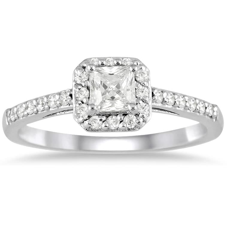 10k White Gold 1/2ct TDW Diamond Halo Engagement Ring (I-J, I1-I2)