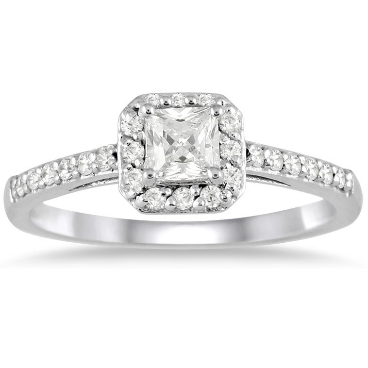 10k White Gold 1/2ct TDW Diamond Halo Engagement Ring - Thumbnail 0
