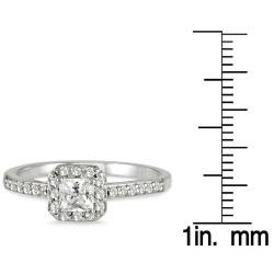 10k White Gold 1/2ct TDW Diamond Halo Engagement Ring - Thumbnail 2