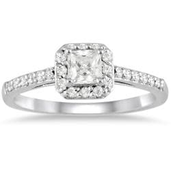 10k White Gold 1/2ct TDW Diamond Halo Engagement Ring