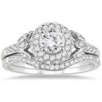 Marquee Jewels 10k White Gold 1ct TDW White Diamond Antique Bridal Set