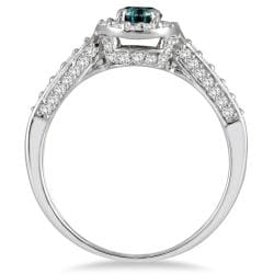 Marquee Jewels 10k White Gold 7/8ct TDW Blue and White Diamond Halo Ring (I-J,I1-I2) - Thumbnail 1