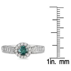 Marquee Jewels 10k White Gold 7/8ct TDW Blue and White Diamond Halo Ring (I-J,I1-I2) - Thumbnail 2