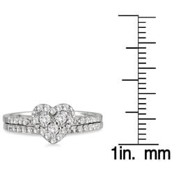 Marquee Jewels 10k White Gold 3/8ct TDW Diamond Heart Bridal Ring Set - Thumbnail 2