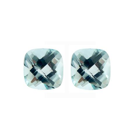 Glitzy Rocks Square 10x10mm Cushion Briolette-cut 12.4ct TGW Blue Topaz Stones (Set of 2)