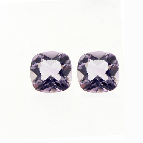 Glitzy Rocks Square 8x8mm Cushion-cut 4.8ct TGW Amethyst Stones (Set of 2)
