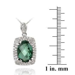 Glitzy Rocks Rhodiumplated 7.5ct TGW Lab Created Green Quartz and Cubic Zirconia Accent Necklace - Thumbnail 2