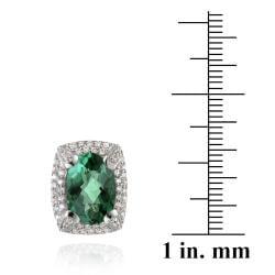 Glitzy Rocks Rhodiumplated 6.4ct TGW Oval Lab Created Green Quartz CZ Accent Earrings