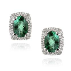 Glitzy Rocks Rhodiumplated 6.4ct TGW Oval Lab Created Green Quartz CZ Accent Earrings