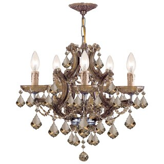 Crystorama Maria Theresa Collection 5-light Antique Brass Chandelier