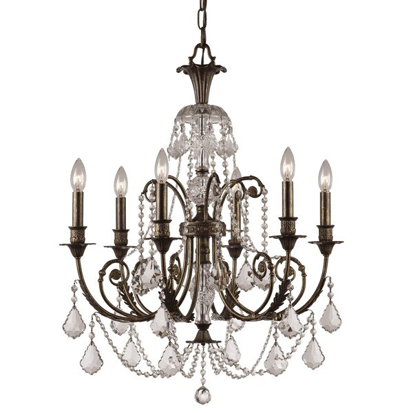 Crystorama Regis Collection 6-light English Bronze Crystal Chandelier