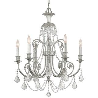 Crystorama Regis Collection 6-light Olde Silver Chandelier