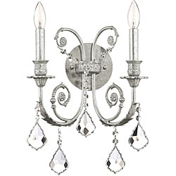 Crystorama Regis Collection 2-light Olde Silver Wall Sconce