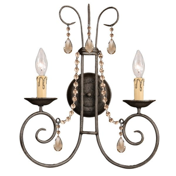Crystorama Soho Collection 2-light Dark Rust Wall Sconce