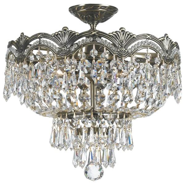 Crystorama Majestic Collection 3-light Historic Brass Semi-flush Mount