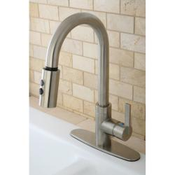 Modern Satin Nickel Single Handle Faucet with Pull-Down Spout