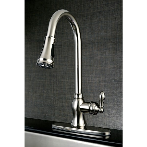 Classic Satin Nickel Single- Handle Faucet with Pull Down Spout