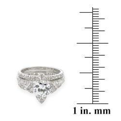Icz Stonez Rhodiumplated 4 1/4ct TW Cubic Zirconia Bridal Ring Set - Thumbnail 2