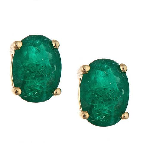 Anika and August 14k Yellow Gold Zambian Emerald Stud Earrings