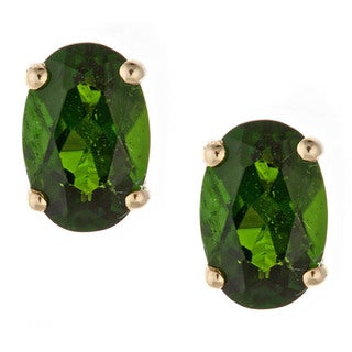 Anika and August 14k Yellow Gold Chrome Diopside Stud Earrings