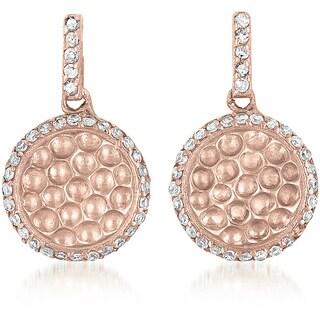 Collette Z Rosetone Sterling Silver Clear Cubic Zirconia Earrings