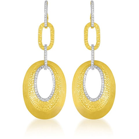 Collette Z Goldplated Sterling Silver Clear Cubic Zirconia Oval Link Earrings