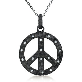 Collette Z Black Plated Sterling Silver Clear Cubic Zirconia Peace Sign Necklace