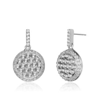 Collette Z Sterling Silver Clear Cubic Zirconia Hammered Round Earrings