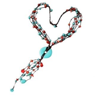 Multi Strand Synthetic Coral-Turquoise Donut Wax Rope Necklace
