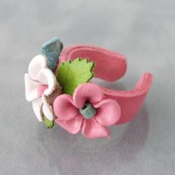 Pink, Blue and White Floral Blossom Leather Ring (Thailand) - Thumbnail 1
