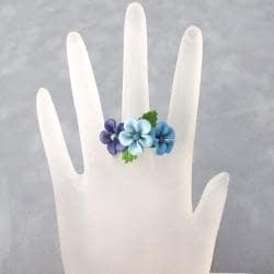 Blue Floral Blossom Leather Ring (Thailand)
