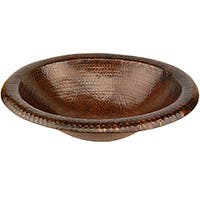 Premier Copper Products Wide Rim Oval Self-rimming Hammered Copper Sink