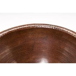 Premier Copper Products Round Self Rimming Hammered Copper Sink