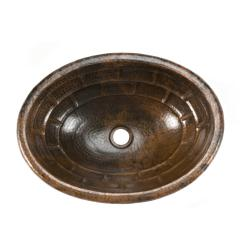 Premier Copper Products Oval Stacked Stone Self Rimming Hammered Copper Sink - Thumbnail 2