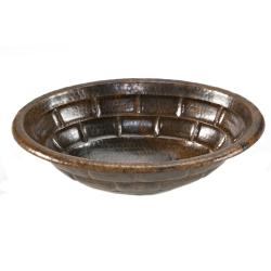 Premier Copper Products Oval Stacked Stone Self Rimming Hammered Copper Sink