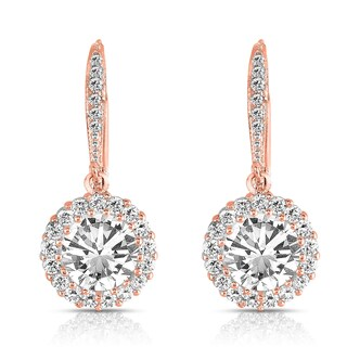 Collette Z Sterling Silver Round-cut Cubic Zirconia Halo Drop Earrings (3 options available)