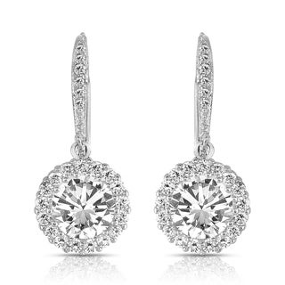 Link to Collette Z Sterling Silver Round-cut Cubic Zirconia Halo Drop Earrings Similar Items in Earrings