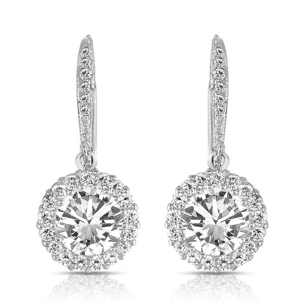 1aacb1402 Collette Z Sterling Silver Round-cut Cubic Zirconia Halo Drop Earrings