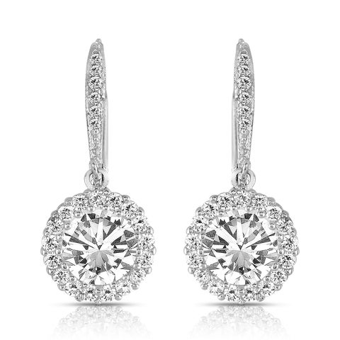 Collette Z Sterling Silver Round-cut Cubic Zirconia Halo Drop Earrings
