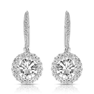 Collette Z Sterling Silver Round-cut Cubic Zirconia Halo Drop Earrings|https://ak1.ostkcdn.com/images/products/6391650/P14003990.jpg?impolicy=medium