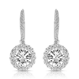 Collette Z Sterling Silver Round-cut Cubic Zirconia Halo Drop Earrings (2 options available)