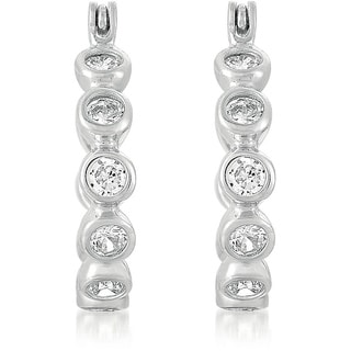 Collette Z Sterling Silver Clear Cubic Zirconia Hoop Earrings